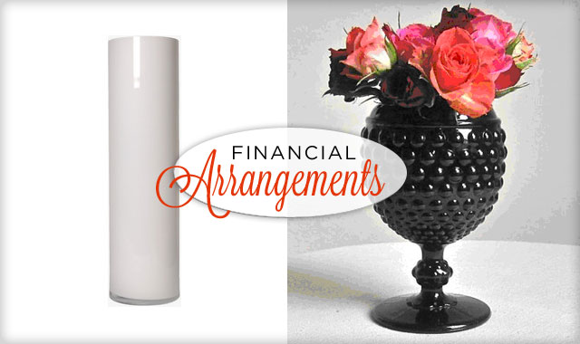 Financial Arrangements  — The hottest trends on a tight budget (black & white on vases).