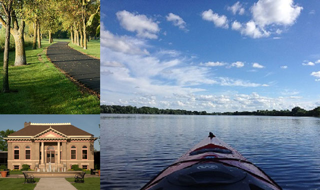 Luce Line Trail, Library Square Park and Canoe on Crow River - Explore Hutchinson (left to right)